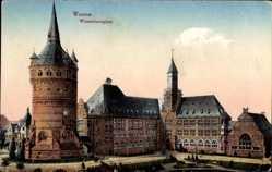Postcard Worms in Rheinland Pfalz, Blick auf den Wasserturmplatz, Häuser
