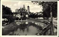 Postcard Sigmaringen an der Donau Baden Württemberg, Gewässer, Kirche