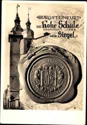 Postcard Burgsteinfurt Steinfurt in Nordrhein Westfalen, Hohe Schule, Siegel