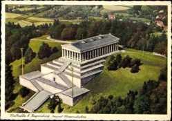 Postcard Regensburg an der Donau Oberpfalz, Walhalla, Fliegeraufnahme
