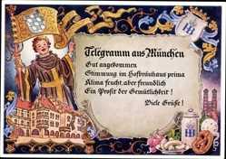Künstler Ak München Bayern, Münchner Kindl, Hofbräuhaus, Bierkrug, Brezel