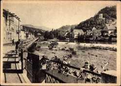 Postcard Gernsbach im Murgtal Baden Württemberg, Fluss, Blick auf den Ort
