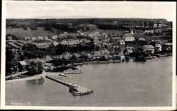 Postcard Hagnau am Bodensee, Blick auf den Ort, Steg, Fliegeraufnahme