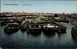 Postcard Meiderich Duisburg im Ruhrgebiet, Hafenbecken, Lastkähne, Brücke