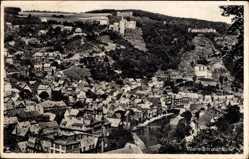 Postcard Idar Oberstein an der Nahe, Felsenkirche, Totalansicht der Ortschaft, Schloss