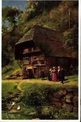 Künstler Ak Hoffmann, H., Schapbachtal Schwarzwald, Bauernhaus, Anwohner