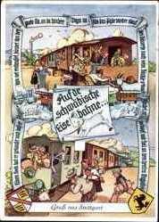 Leporello Ak Gruß aus Stuttgart, Schwäbische Eisenbahn