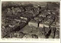 Postcard Dresden, Hahn 12985, Altmarkt mit Zwinger, Schloss, Kirche, Fliegeraufnahme