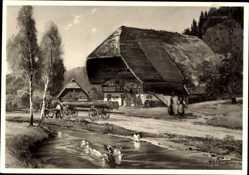 Künstler Ak Im Schwarzwald, Schwarzwaldhaus, Holztransport