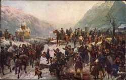 Künstler Ak Camphausen, Wilhelm, Rheinübergang der 1. Schles. Armee,Blücher,1814