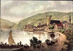 Postcard Rüdesheim am Rhein in Hessen, Weinbrennerei Asbach Uralt, Bootsbeladung