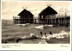 Postcard Uhldingen Mühlhofen im Bodenseekreis, die steinzeitlichen Pfahlbauten