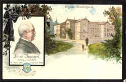 Litho Friedrichsruh Aumühle, Blick auf Schloss Friedrichsruh, Fürst Bismarck