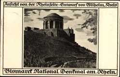 Künstler Ak Bingen am Rhein, Ansicht Bismarck National Denkmal