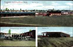 Ak Orzysz Arys Ostpreußen, Truppenübungsplatz, Kantine XII, Kasernenhof