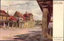 Künstler Ak Becherer, H., Jelgava Mitau Lettland, Krambuden am Markt