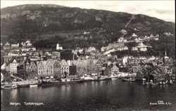 Postcard Bergen Norwegen, Tyskebryggen, Wasserblick zum Ort, Hafen