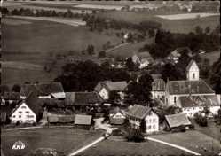 Postcard Betenbrunn Heiligenberg am Bodensee, Blick auf den Ort, Kirche