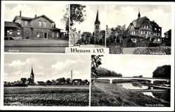Postcard Mesum Rheine in Nordrhein Westfalen, Emspartie, Bahnhof, Krankenhaus