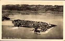 Postcard Lindau im Bodensee Schwaben, Totalansicht, Fliegeraufnahme
