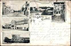 Postcard Krottord Gröningen, Elektrizitätswerk Helios, Kriegerdenkmal, Bahnhof