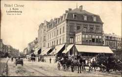 Postcard Luxemburg, Straßenpartie mit Blick auf Hotel Clesse, Place de la Gare