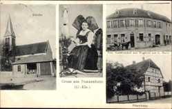Ak Dunzenheim Bas Rhin, Kirche, Elsässer Tracht, Spinnrad, Gastwirtschaft Harter