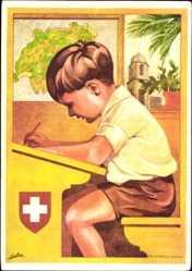 Ganzsachen Künstler Ak Bundesfeier 1930, Bedürftige Schweizerschulen im Ausland