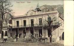 Postcard Paarl Südafrika, View of the town house, horse carriage, Gebäude