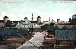 Postcard Tallinn Reval Estland, Blick auf den Ort, Bahnübergang, Rundtürme