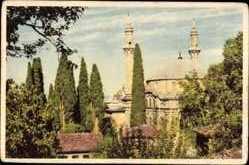Postcard Bursa Türkei, Emil Sultan Mosque, Blick auf eine Moschee, Minarette