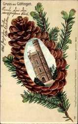 Präge Tannenzapfen Litho Göttingen in Niedersachsen, Blick auf den Bismarckturm