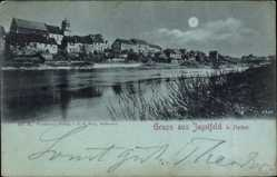 Mondschein Ak Jagstfeld am Neckar Bad Friedrichshall, Blick auf den Ort, Fluss