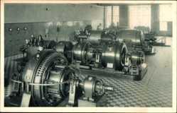 Postcard Wittenberge in der Prignitz, Kraftzentrale, Turbinenraum, Singer Nähmaschinen