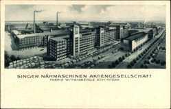 Postcard Wittenberge in der Prignitz, Singer Nähmaschinen, Gesamtansicht, Nordseite