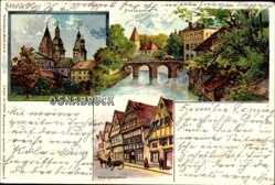 Litho Osnabrück in Niedersachsen, Hasepartie, Renaissancehaus, Dom