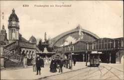 Postcard Köln am Rhein, Frankenplatz mit Hauptbahnhof, Straßenbahn 679, Brunnen