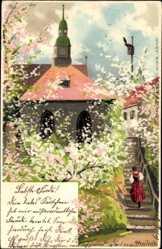 Künstler Litho Mailick, Frühling im Ort, Vogelhaus, Blüten, Treppe