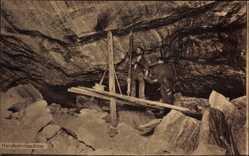 Ak Handbohrmaschine, Felswand, Steinbruch, Arbeiter