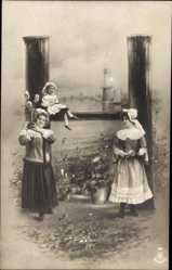 Buchstaben Ak H, Frau, Kinder, Windmühle, Idyll, NPG 195