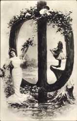 Buchstaben Ak O, Frau mit Kindern am Wasser, NPG 195