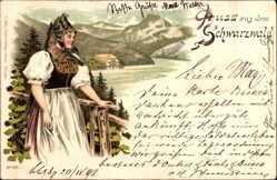 Litho Gruß aus dem Schwarzwald, Schwarzwälderin in Tracht