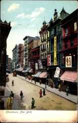 Postcard New York City USA, China town, shops, Straßenpartie, Geschäfte
