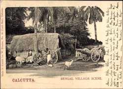 Postcard Kolkata Kalkutta Indien, Bengal Village Scene, Ziegen, Strohhütte