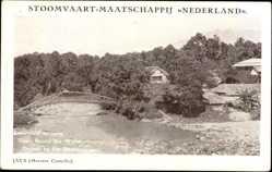 Postcard Java Indonesien, Meester Cornelis, Flusspartie, Brücke, Palmen, Häuser