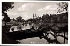 Ak Święta Lipka Heiligelinde Ostpreußen, Blick vom Dainova See zur Kirche
