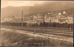 Postcard Oslo Norwegen, Parti av Oscarsborg, Blick auf den Ort, Eisenbahnschienen