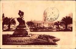 Postcard Buenos Aires Argentinien, Plaza Congreso, El Pensador de Rodin