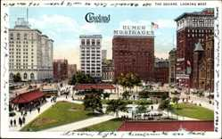 Postcard Cleveland Ohio USA, The Square, looking west, Ulmer Mortgages