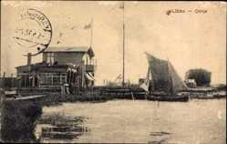 Postcard Liepaja Libau Lettland, Citinje, Segelboot, Gebäude, Anlegestelle